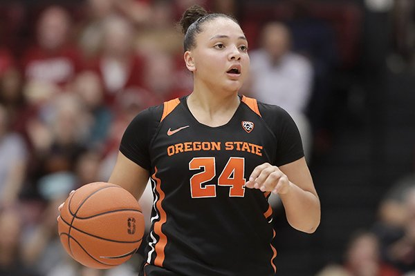 Oregon State guard Destiny Slocum (24) against Stanford during NCAA college basketball game in Palo Alto, Calif., Friday, Feb. 21, 2020. (AP Photo/Jeff Chiu)