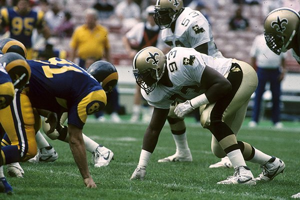 New Orleans Saints defensive end Wayne Martin (93) lines up during a 40-21 victory over the Los Angeles Rams on October 22, 1989, at Anaheim Stadium in Anaheim, Calif. (AP Photo/NFL Photos Courtesy of New Orleans Saints)