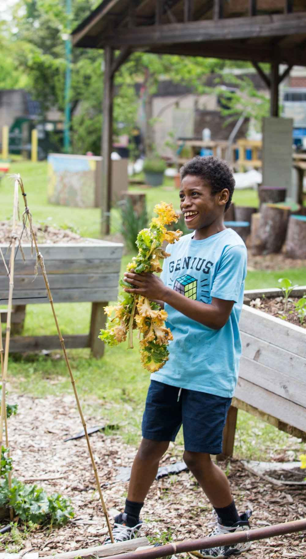Khaiye Robinson, 11, runs kale clippings to the compost pile to help his mom, Amina Robinson, at the Habesha community garden in the Mechanicsville neighborhood Thursday, April 9, 2020. (Jenni Girtman for Atlanta Journal Constitution)