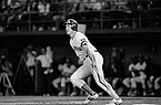San Diego Padres Kevin McReynolds watches his fifth inning three-run homer sail over the wall as he heads for first base in Game 3 of the National League playoffs in San Diego, Oct. 5, 1984. The homer helped the Padres to a 7-1 victory over the Chicago Cubs. (AP Photo)