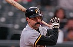 Pittsburgh Pirates batter Jeff King connects for a single in the first inning at Denver's Coors Field Friday, Aug. 23, 1996. (AP Photo/David Zalubowski)