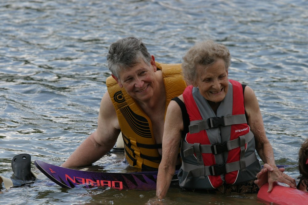 At age 89, Janie Florene Mullens Butler goes skiing with her son Toby Butler on Lake DeGray. (Special to the Democrat-Gazette/Jerry Butler)