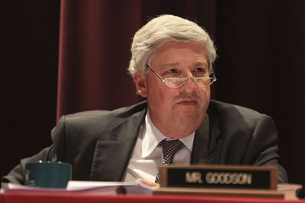 University of Arkansas System Board of Trustees member John Goodson is shown during a meeting Tuesday, Sept. 7, 2016, in Little Rock.