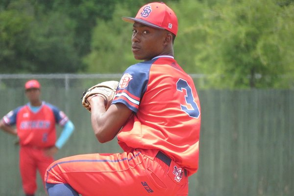 Markevian Hence of Watson Chapel, shown while pitching for the Arkansas Sticks, is one of the Razorbacks' highest-rated signees in the class of 2020.