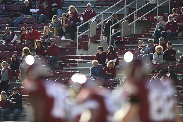Fans watch during a football game between Arkansas and Western Kentucky on Saturday, Nov. 9, 2019, in Fayetteville.