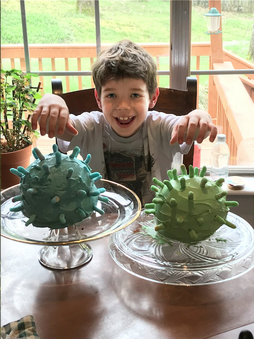 Collin Scuderi shows off coronavirus-inspired cakes made for his ninth birthday party, whose theme was the pandemic and which was conducted at home April 3. (Special to the Democrat-Gazette/Noelle Scuderi)