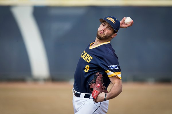 Northern Colorado pitcher Issac Bracken throws during a game against North Dakota State on Friday, March 1, 2019, in Greeley, Colo.