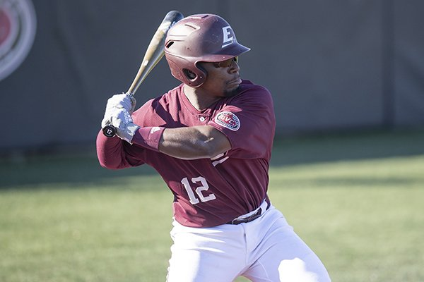 Eastern Kentucky's A.J. Lewis (12) bats during an NCAA college baseball game against Western Kentucky, Tuesday, March 26, 2019, in Richmond, Ky. (AP Photo/Bryan Woolston)
