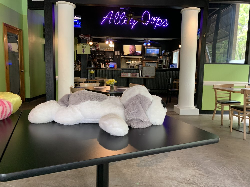 Stuffed animals maintain social distancing in the dining room at Alley Oops. (Arkansas Democrat-Gazette/Eric E. Harrison)