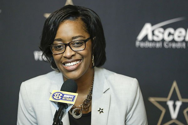 In this Feb. 5, 2020, file photo, Vanderbilt interim athletic director Candice Lee answers questions during a news conference in Nashville, Tenn. Vanderbilt has removed the interim title, making Candice Storey Lee the first black woman to become an athletic director in the Southeastern Conference. With Vanderbilt's announcement Wednesday, May 20, 2020, Lee now is among only five women in charge of a Power 5 program. (AP Photo/Mark Humphrey)