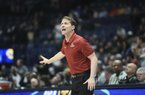 Arkansas head coach Eric Musselman reacts, Wednesday, March 11, 2020 during a basketball game at Bridgestone Arena in Nashville, Tenn. Check out http://nwamedia.photoshelter.com/ for todayÕs photo gallery. (NWA Democrat-Gazette/Charlie Kaijo)