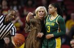 Baylor head coach Kim Mulkey talks with guard Trinity Oliver (3) during an NCAA college basketball game against Iowa State, Sunday, March 8, 2020, in Ames, Iowa. (AP Photo/Charlie Neibergall)