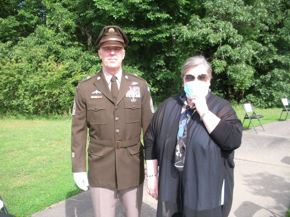 Beverly Webb with Command Sgt. Maj. Rick Megoloff, Arkansas Army National Guard. - Submitted photo