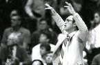 Arkansas coach Eddie Sutton is shown during a game against Houston on March 4, 1984, in Fayetteville. The Razorbacks defeated the Cougars 73-68 to snap Houston's 39-game SWC win streak.