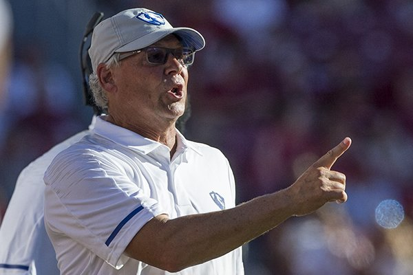 Eastern Illinois coach Kim Dameron is shown during a game against Arkansas on Saturday, Sept. 1, 2018, in Fayetteville.