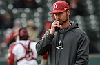 Arkansas pitching coach Matt Hobbs speaks to his bullpen during a game against Eastern Illinois on Saturday, Feb. 16, 2019, at Baum-Walker Stadium in Fayetteville.