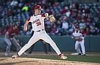 Arkansas pitcher Peyton Pallette throws during a game against South Alabama on Friday, March 6, 2020, in Fayetteville.