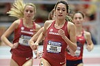 Arkansas' Taylor Werner leads the pack as she competes Saturday, Feb. 23, 2019, in the 3,000 meters during the Southeastern Conference Indoor Track and Field Championship at the Randal Tyson Track Center in Fayetteville.