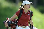 Brooke Matthews of Arkansas walks Tuesday, May 21, 2019, to the 16th green during her match with Letizia Bagnoli of Wake Forest in the Women's NCAA Golf Championship at Blessings Golf Club in Johnson.
