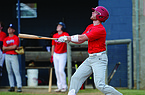Perfect Timing White third baseman and Arkansas Razorback Cullen Smith watches a ball sail to the outfield Tuesday, June 2, 2020, during play in the College Baseball League at the Randal Tyson Sports Complex in Springdale.