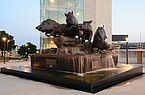 The Wild Band of Razorbacks sculpture stands Wednesday, June 3, 2020, outside Donald W. Reynolds Razorback Stadium in Fayetteville.