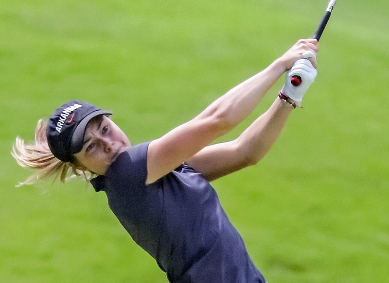 Brooke Mathews tees off during the  Arkansas Women's Stroke Play tournament that got underway at Chenal Country Club Tuesday morning, June 16, 2020, at the Chenal Country Club in Little Rock. (Arkansas Democrat-Gazette/John Sykes Jr.)