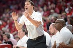 NWA Democrat-Gazette/ANDY SHUPE Arkansas coach Eric Musselman directs his players Saturday, Nov. 16, 2019, during the second half of play against Montana in Bud Walton Arena in Fayetteville. Visit nwadg.com/photos to see more photographs from the game.