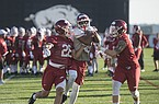 Arkansas football players go through practice Thursday, March 1, 2018, in Fayetteville.