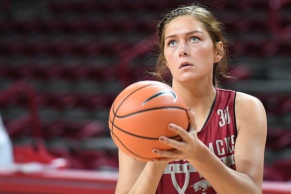Macy Weaver at practice Monday Oct. 16, 2017 at Bud Walton Arena in Fayetteville.