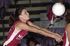 Fort Smith Northside's Kristin Seaton makes a dig during a match against Fayetteville on Oct. 9, 2003.
