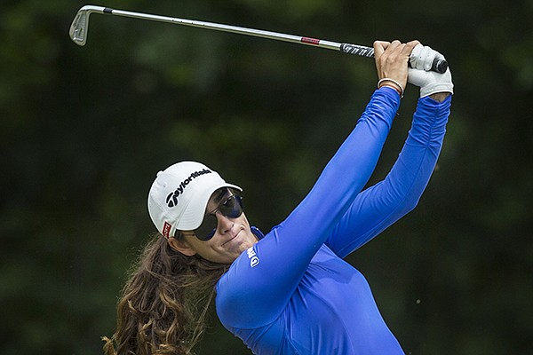 Maria Fassi hits from the tee box Tuesday, June 23, 2020, on hole 15 during the pro-am round of the Cooper Northwest Arkansas Charity Classic golf tournament at Bella Vista Country Club.