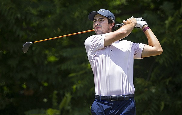 Former Arkansas golfer Alvaro Ortiz drives Wednesday, June 24, 2020, on hole 3 during the first round of the Cooper Communities North