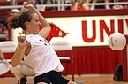 Arkansas volleyball player Jennifer Haaser tries to make a play during a win over Tennessee on Sunday, Sept. 29, 2002, in Fayetteville.