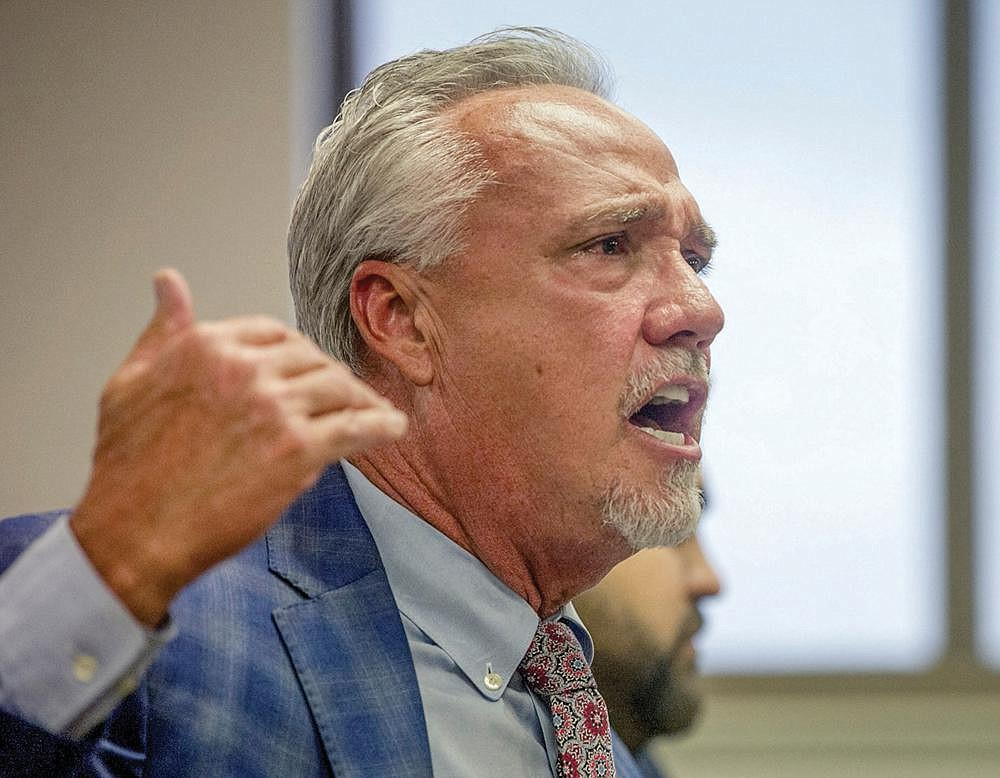 Butch Rice makes a statement in his defense as the state racing commission hears an appeal from the Cherokees about the license for Pope County that was awarded to Gulfside on Monday, June 22, 2020. (Arkansas Democrat-Gazette / Stephen Swofford)