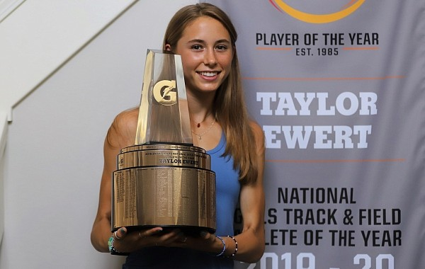 Taylor Ewert, who will be a freshman at Arkansas this fall, was named the 2019-20 Gatorade National Girls Track and Field Athlete of the Year.