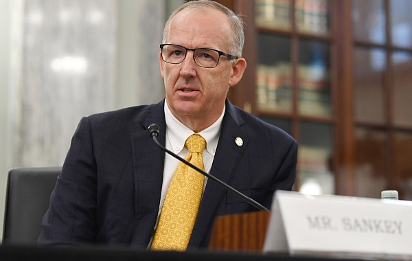 Southeastern Conference Commissioner Greg Sankey testifies before a Senate Commerce Committee hearing on Capitol Hill in Washington, Wednesday, July 1, 2020. The hearing is looking at the National Collegiate Athletic Association Board of Governors' recent report on student-athlete compensation and the modernization of rules related to name, image, and likeness commercialization. (AP Photo/Susan Walsh)