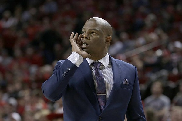 UC Riverside coach David Patrick calls a play during the second half of an NCAA college basketball game against Nebraska in Lincoln, Neb., Tuesday, Nov. 5, 2019. (AP Photo/Nati Harnik)