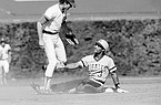 Johnny Ray gestures toward Chicago Cubs' second baseman Ryne Sandberg during eighth inning action in Chicago, June 25, 1984. Ray was out at second on a double play that took Pirates' Bill Madlock out at first. The Pirates won the contest, 3-0. (AP Photo/John Swart)