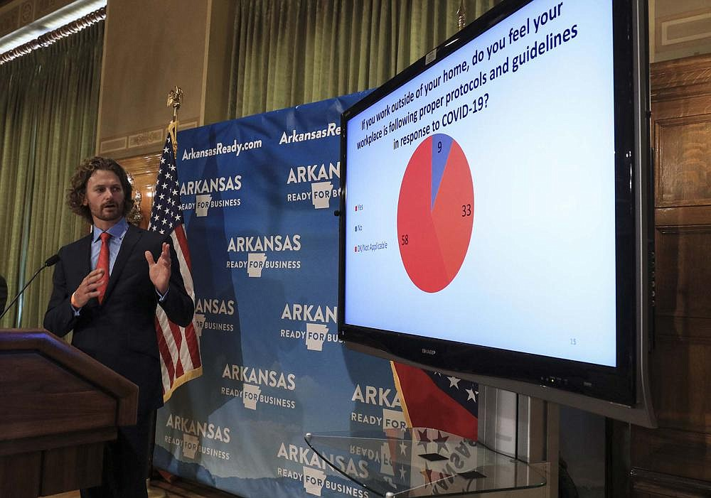Steuart Walton, chairman of the Arkansas Economic Recovery Task Force, gives more results Wednesday from a poll taken in late June that included a question about the most important issue facing the state. The largest percentage of respondents, 42%, listed the coronavirus, with the economy second at 18%. Most respondents, 55%, said they were comfortable doing in-person activities, such as going to the grocery store or getting haircuts, while 41% said they were uncomfortable. (Arkansas Democrat-Gazette/Staton Breidenthal)