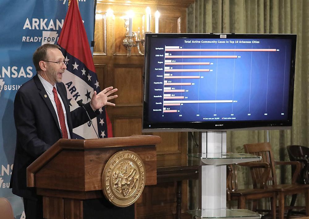 Arkansas Secretary of Health Nate Smith talks about the number of coronavirus cases in the state during Thursday's briefing. (Arkansas Democrat-Gazette/John Sykes Jr.)