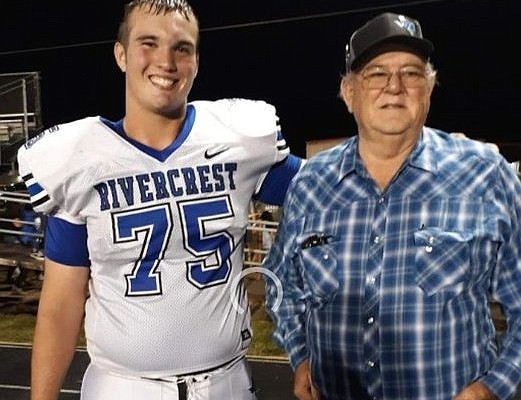 Arkansas O-line commitment Cole Carson and his grandfather Sonny Belcher.