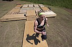 Olympic pole vaulting silver medalist Sandi Morris runs on vaulting pit she is building with her father in Greenville, S.C., Tuesday, April 14, 2020. (AP Photo/John Bazemore)
