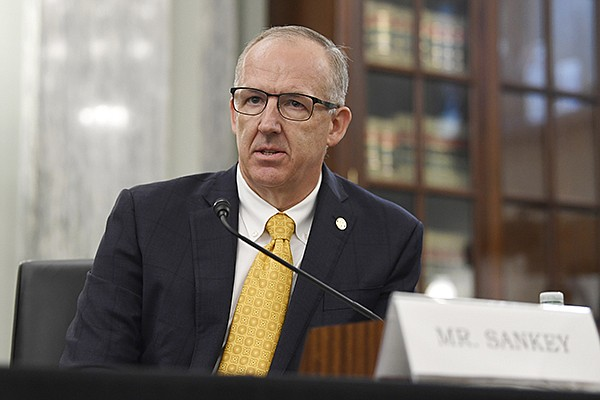 SEC Commissioner Greg Sankey testifies before a Senate Commerce Committee hearing on Capitol Hill in Washington, Wednesday, July 1, 2020. (AP Photo/Susan Walsh)