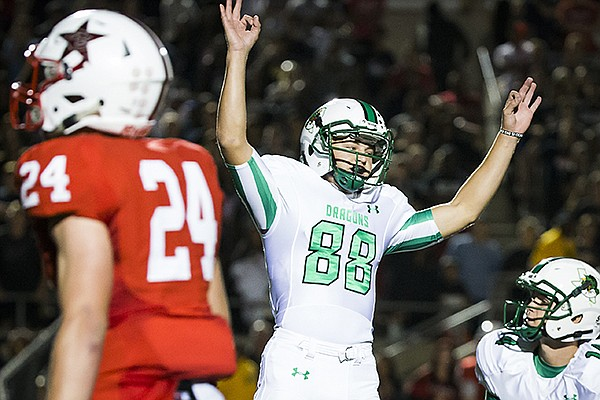 Southlake Carroll kicker Kole Ramage (88) celebrates after kicking a 28-yard field goal with 12 seconds left during the fourth quarter to force overtime in a high school football game against Coppell at Buddy Echols Field on Friday, Oct. 2, 2015, in Coppell, Texas. (Smiley N. Pool/The Dallas Morning News)