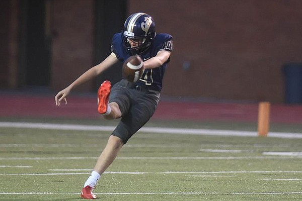 Kicker Cameron Little of Southmoore punts the ball during a game Friday, Sept. 21, 2018, in Moore, Okla. (Photo Courtesy Kyle Phillips/The Norman Transcript)
