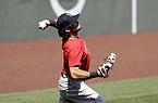 Boston Red Sox left fielder Andrew Benintendi throws to first base during baseball practice at Fenway Park, Thursday, July 16, 2020, in Boston. (AP Photo/Steven Senne)