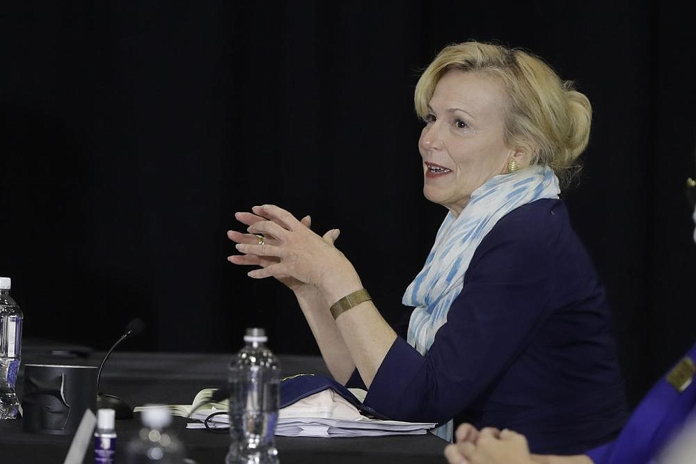 Dr. Deborah Birx, White House coronavirus response coordinator, speaks at a meeting with higher-education leaders Friday in Indianapolis. In an interview, Birx warned that the surge in coronavirus cases in the South and Southwest threatens to move north. (AP/Darron Cummings)