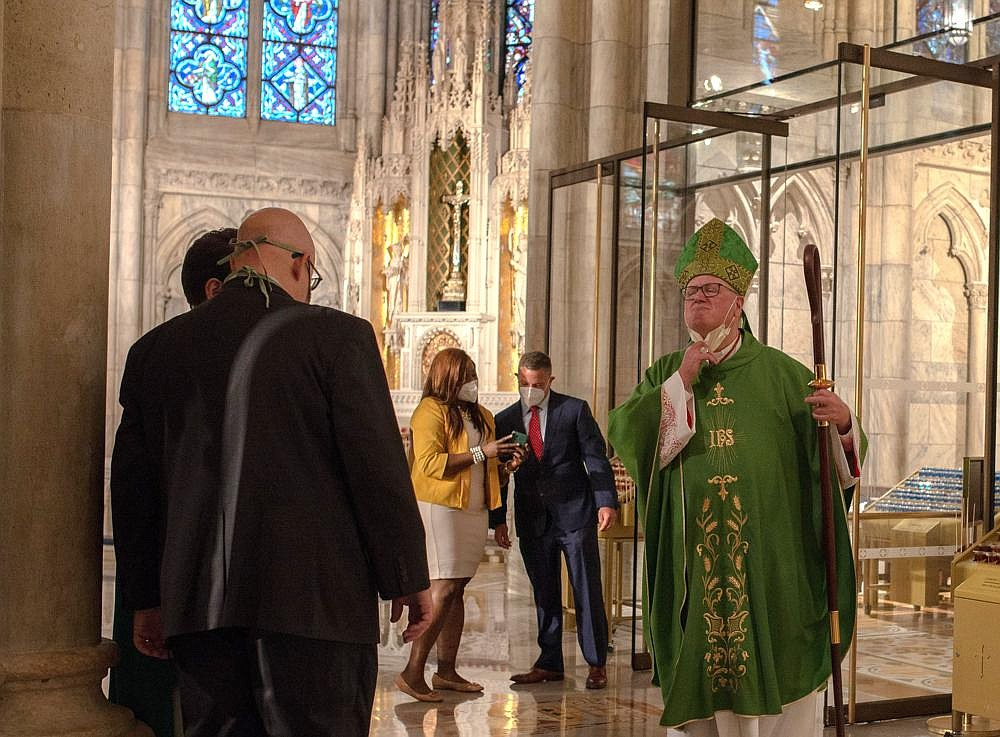 Cardinal Timothy Dolan after a Mass on June 28 at St. Patrick's Cathedral in Manhattan.
