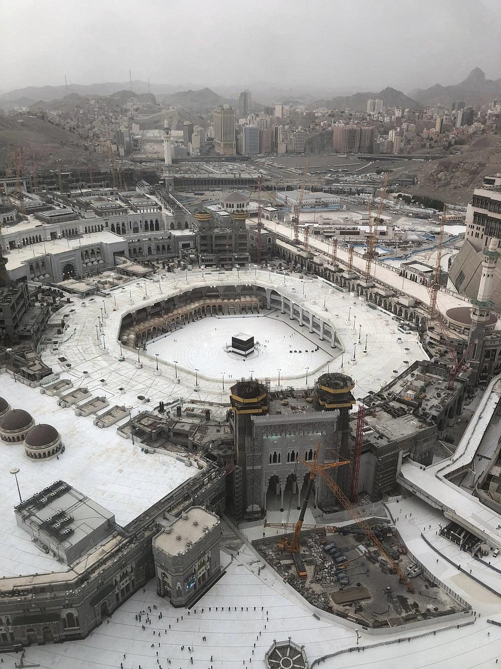 This general view shows the Grand Mosque, at the Muslim holy city of Mecca, Saudi Arabia, on Monday ahead of the Hajj pilgrimage. Anywhere from 1,000 to 10,000 pilgrims will be allowed to perform the annual hajj pilgrimage this year due to the coronavirus pandemic.