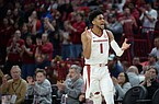 Guard Isaiah Joe — who announced his return to Arkansas for his junior season on Saturday — is one of three players on the Arkansas roster who previously has played for the Razorbacks, along with junior guard Desi Sills and junior forward Ethan Henderson. (NWA Democrat-Gazette/Andy Shupe)